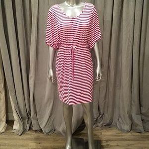 Calvin Klein fuchsia and white striped dress 10